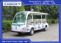 White Tourist Electric Sightseeing Car With 14 Seats Battery Operated 72V 5.5KW